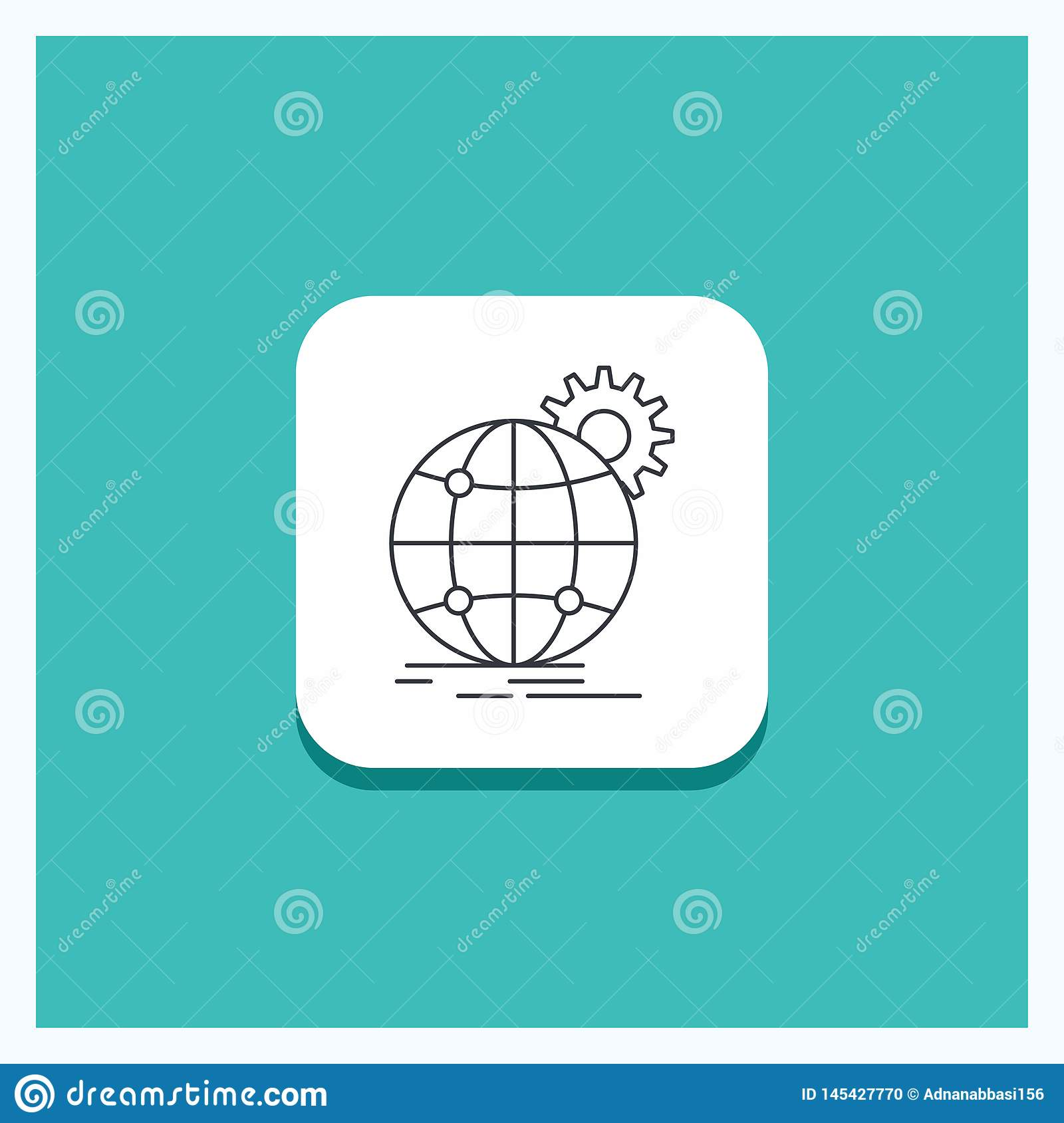 Round Button for international, business, globe, world wide, gear Line icon Turquoise Background