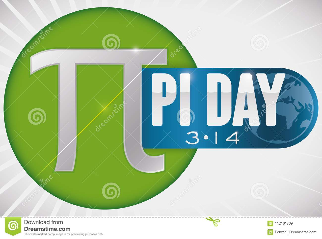 Button With Diameter Pi Symbol And Ribbon For Pi Day Vector