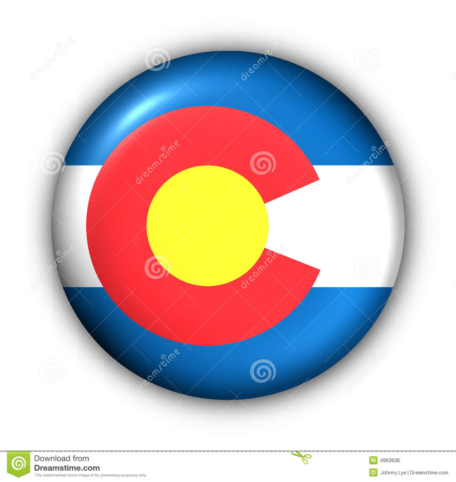 Round Button USA State Flag of Colorado