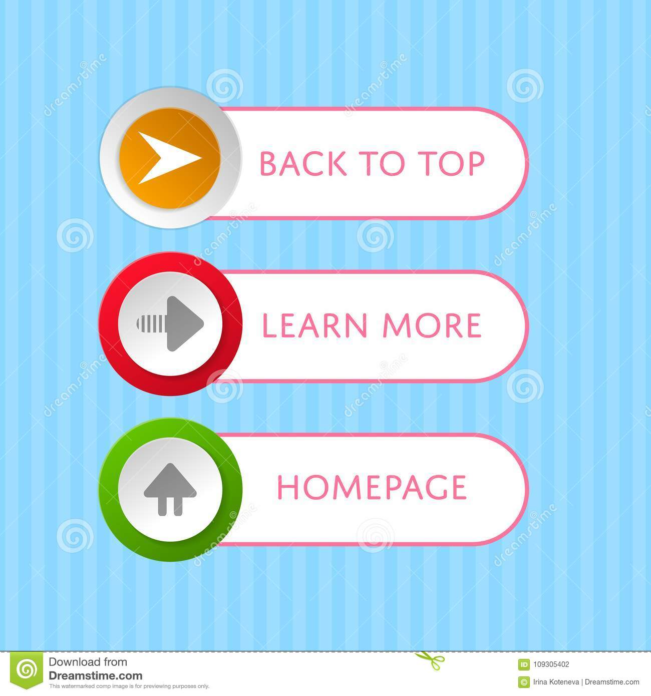 Round Buttons With Arrow Symbols And Text Stock Vector