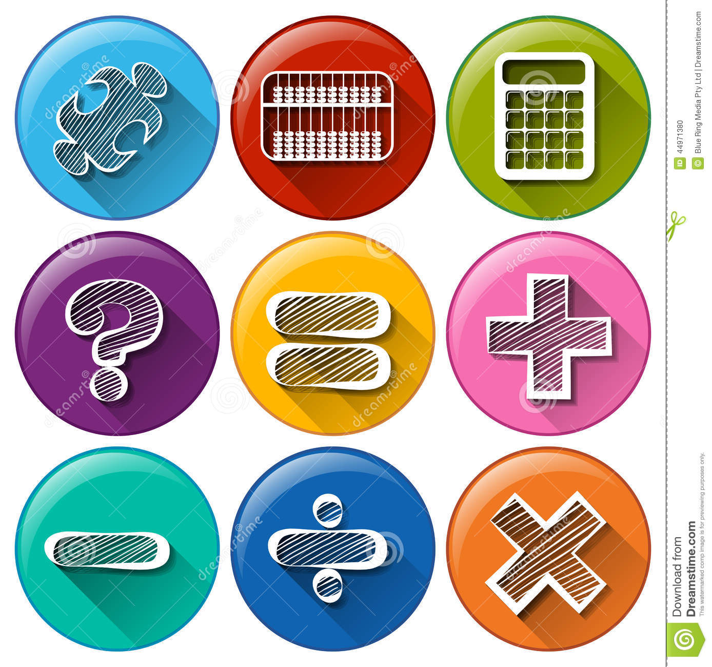 Round Buttons With The Different Mathematical Symbols Stock Vector