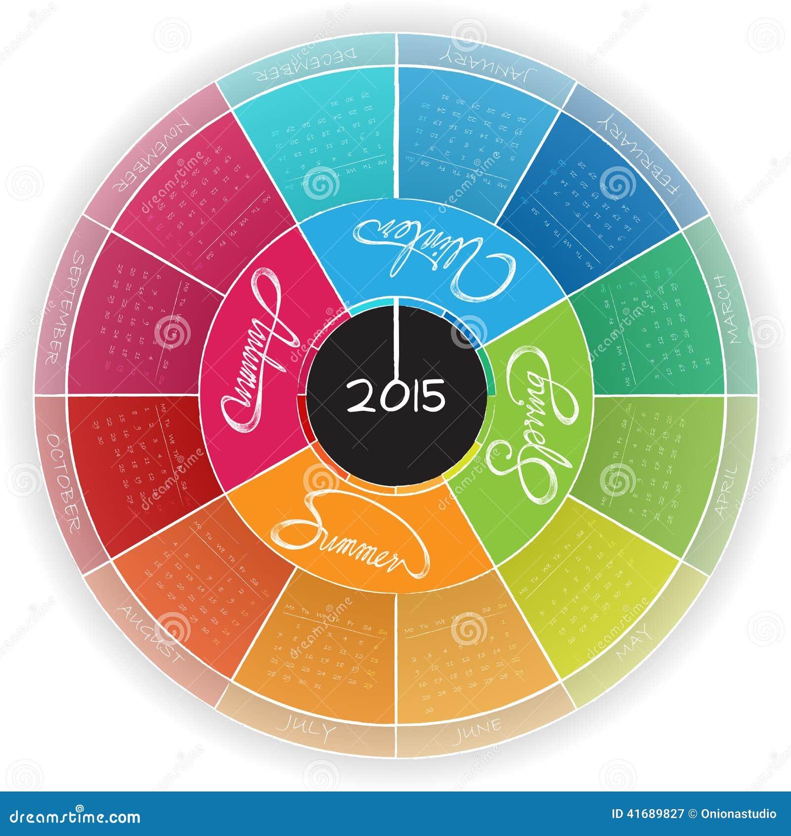 Round Calendar Design : Round calendar design stock vector image of office