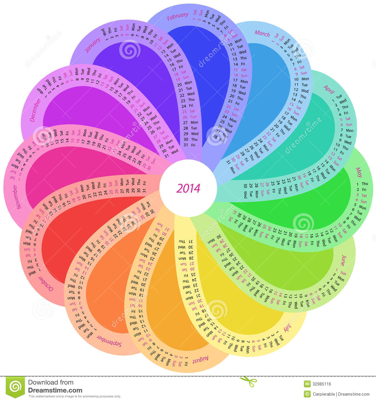 Calendar April Vector : Round calendar for in rainbow color royalty free