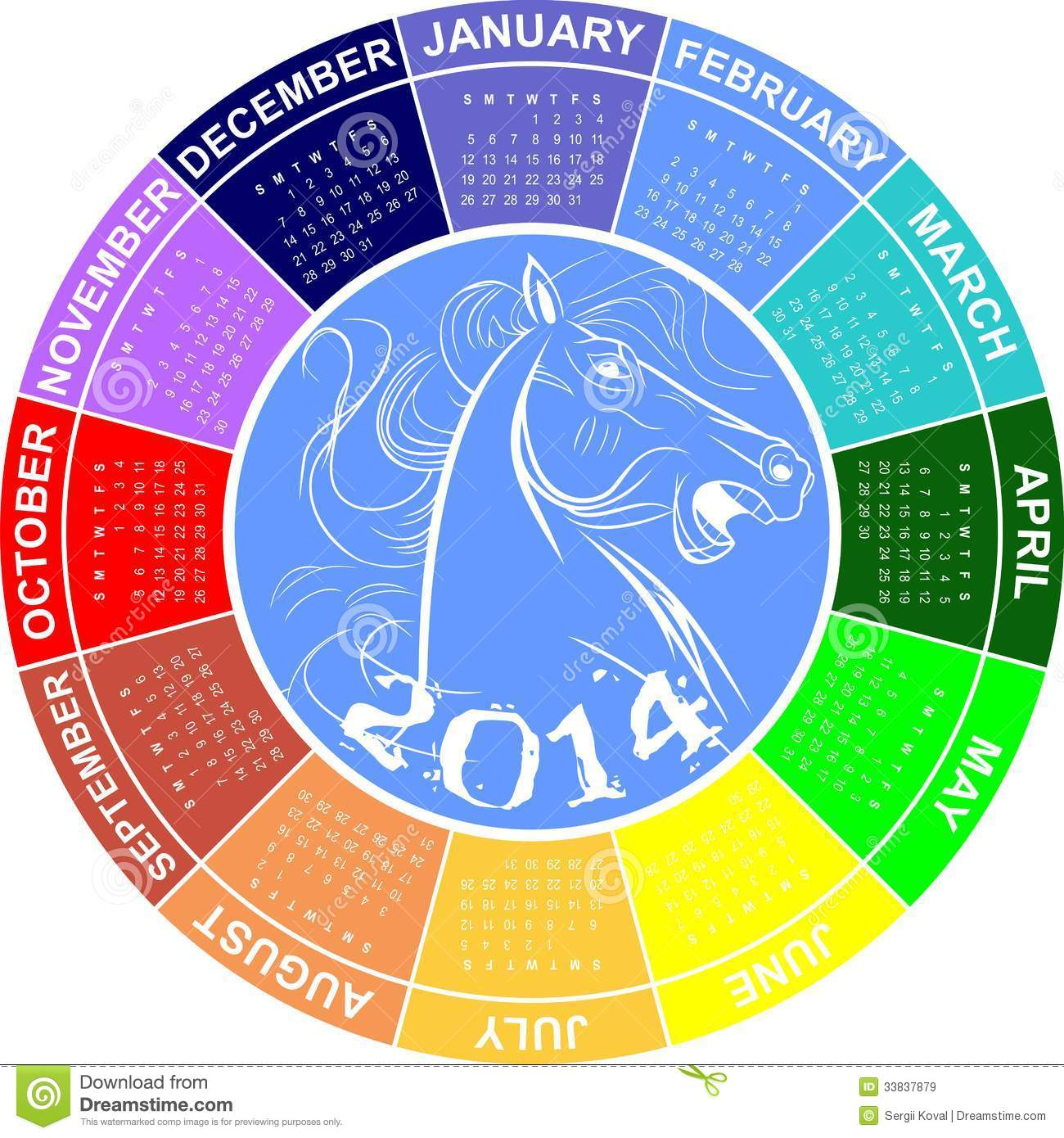 Round Calendar For 2014 Royalty Free Stock Images Image