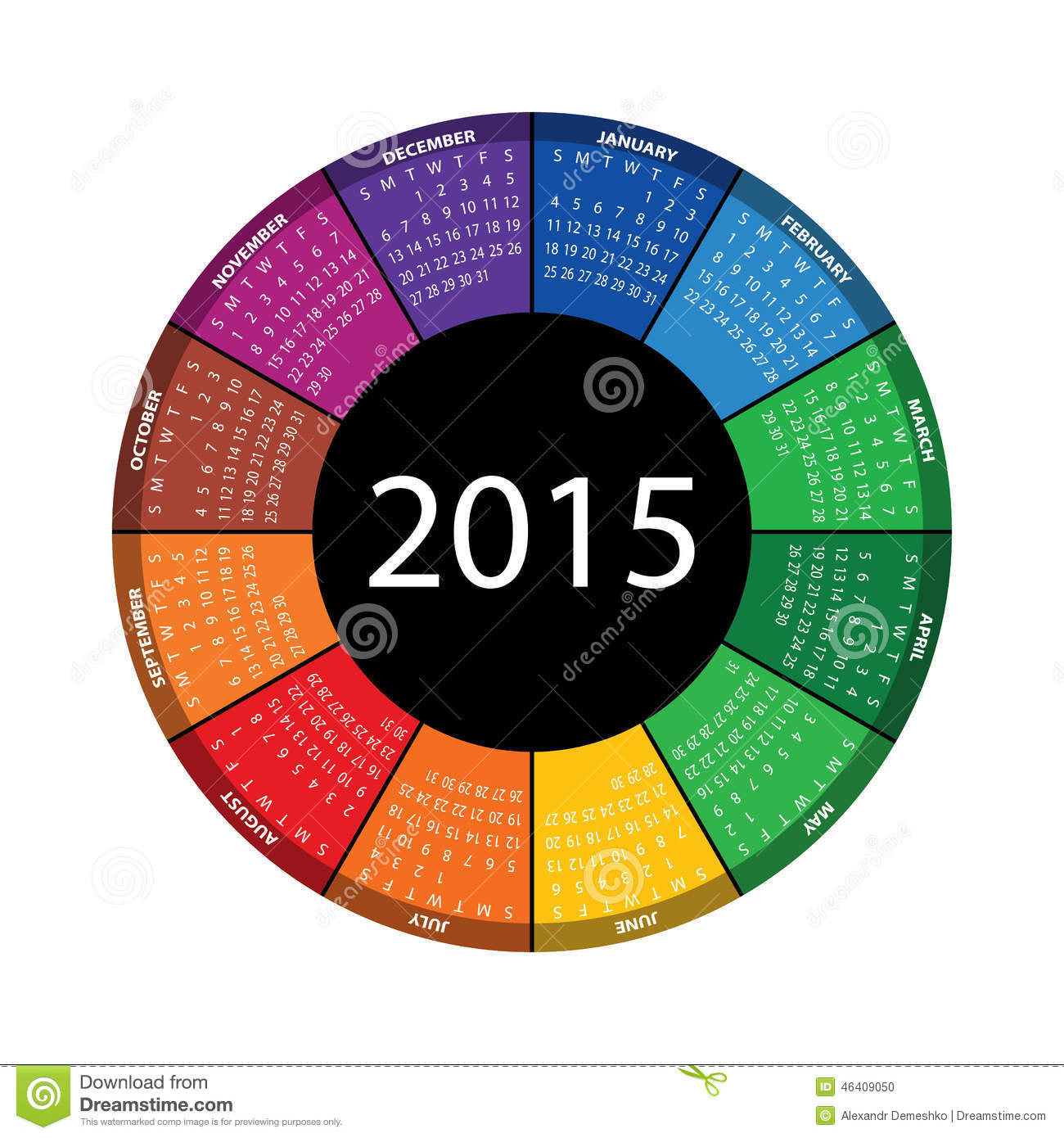 Year Round Calendar Template : Round calendar for year stock vector image