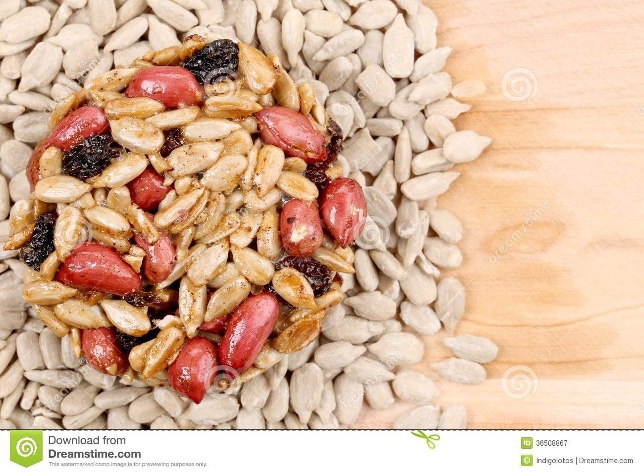 Round candied seeds and nuts.