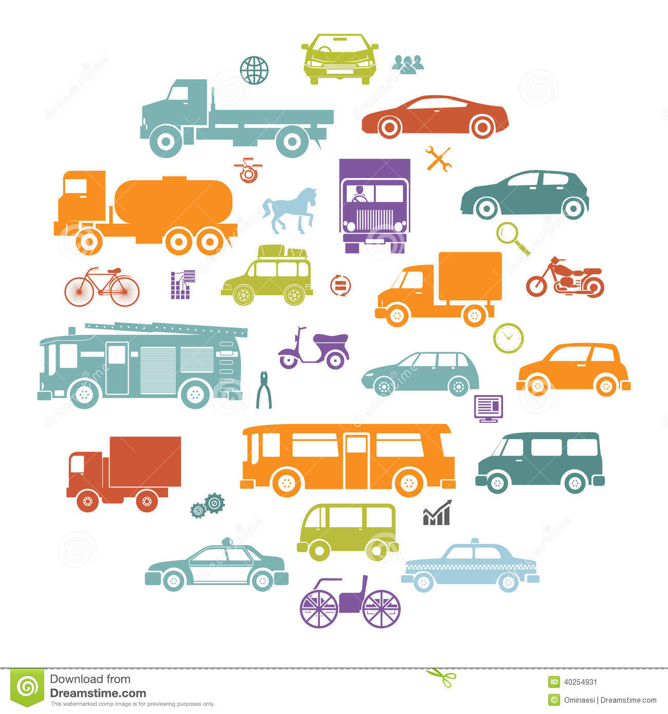Round Card with Retro Flat Cars and Vehicles Silhouette Icons Transport Symbols