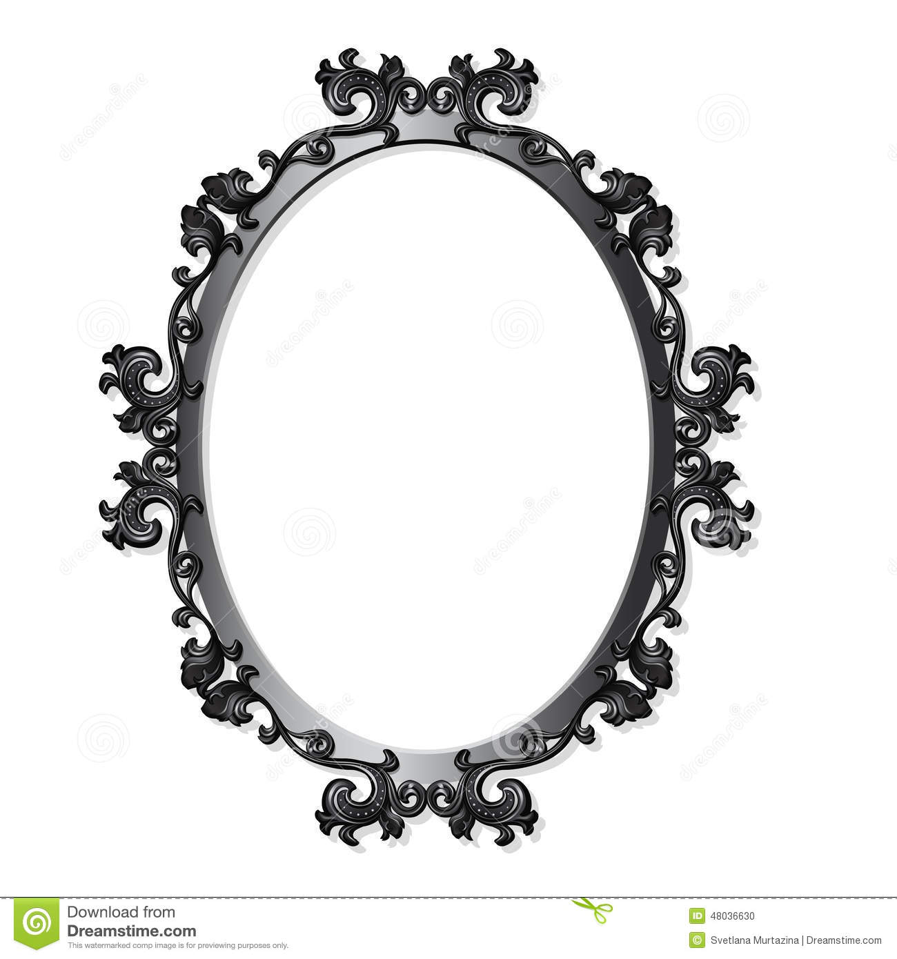 Round Carved Vintage Frame For Picture Or Photo Stock
