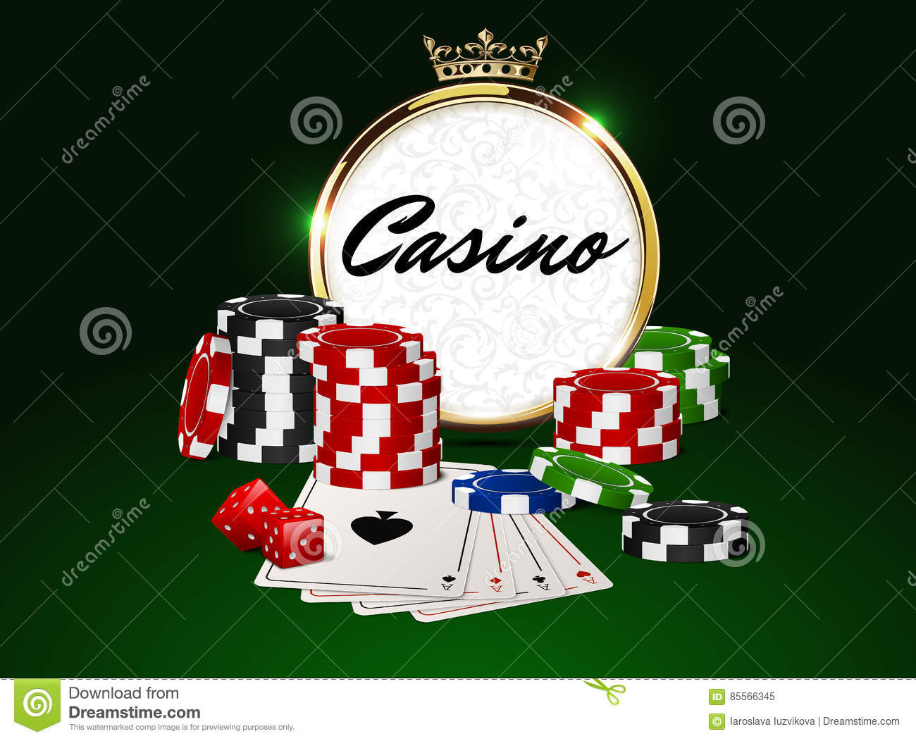Round Casino Golden Frame With Crown Stack Of Poker Chips Ace Cards And Red Dice Stock Vector Illustration Of Chips Poker 85566345
