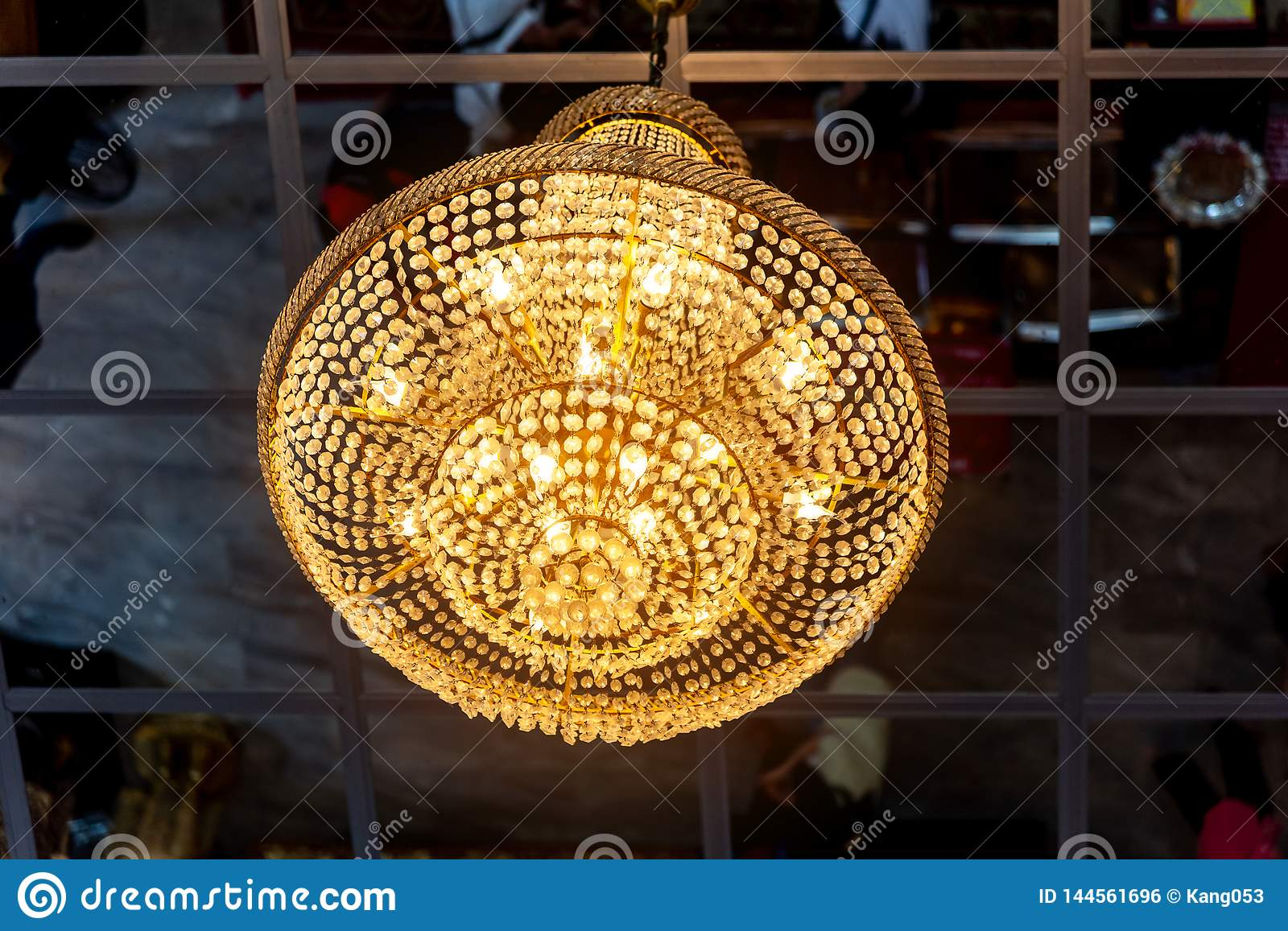 Round Ceiling Lamp Modern Hanging Lighting Fixtures Decorative Round Chandelier In Dining Room At Home Interior Design Stock Photo Image Of Background Hang 144561696