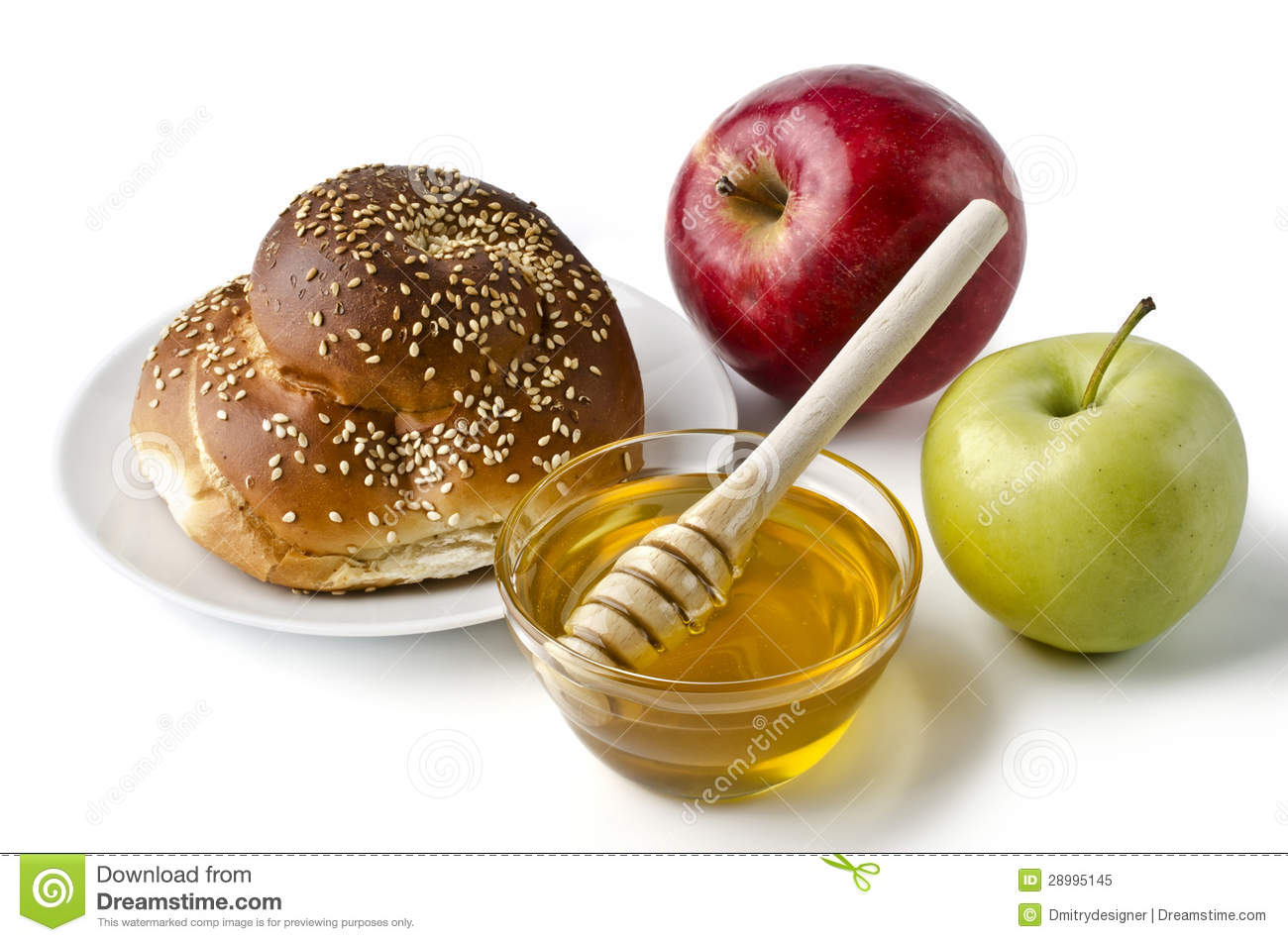 Round challah, apples and a bowl of honey over white. Illustration of ...