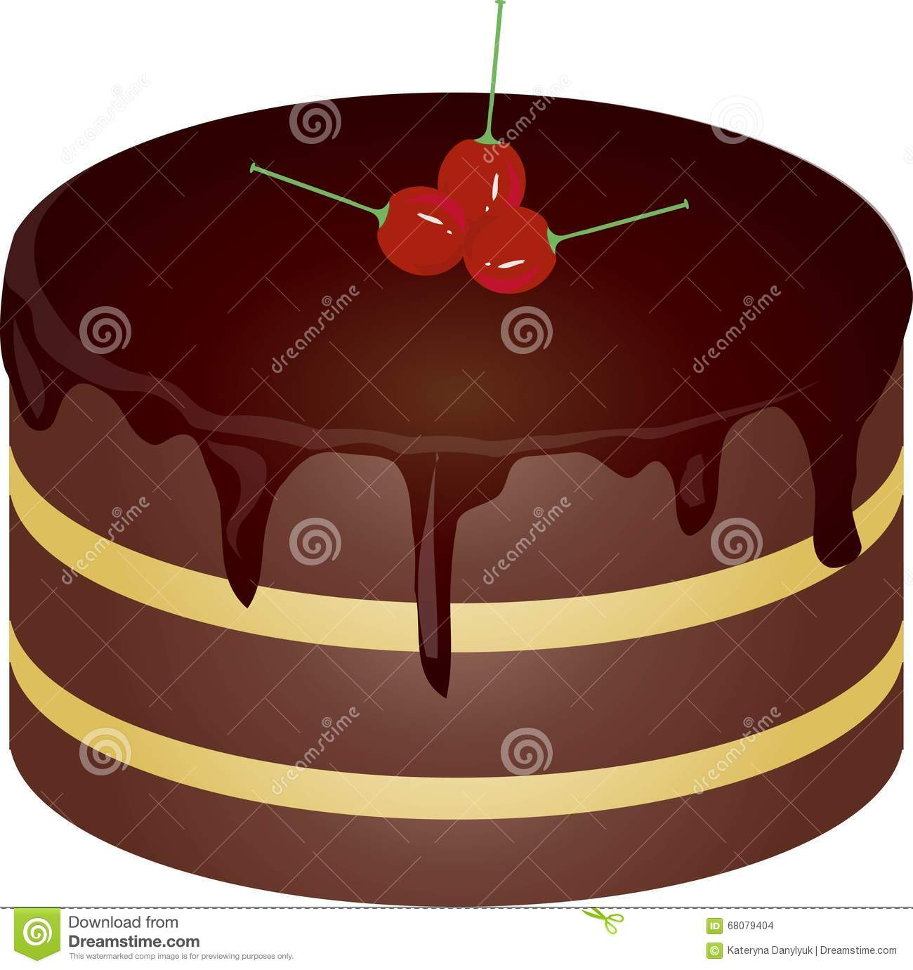 Round Chocolate Cake With Red Cherries On A White Background Design