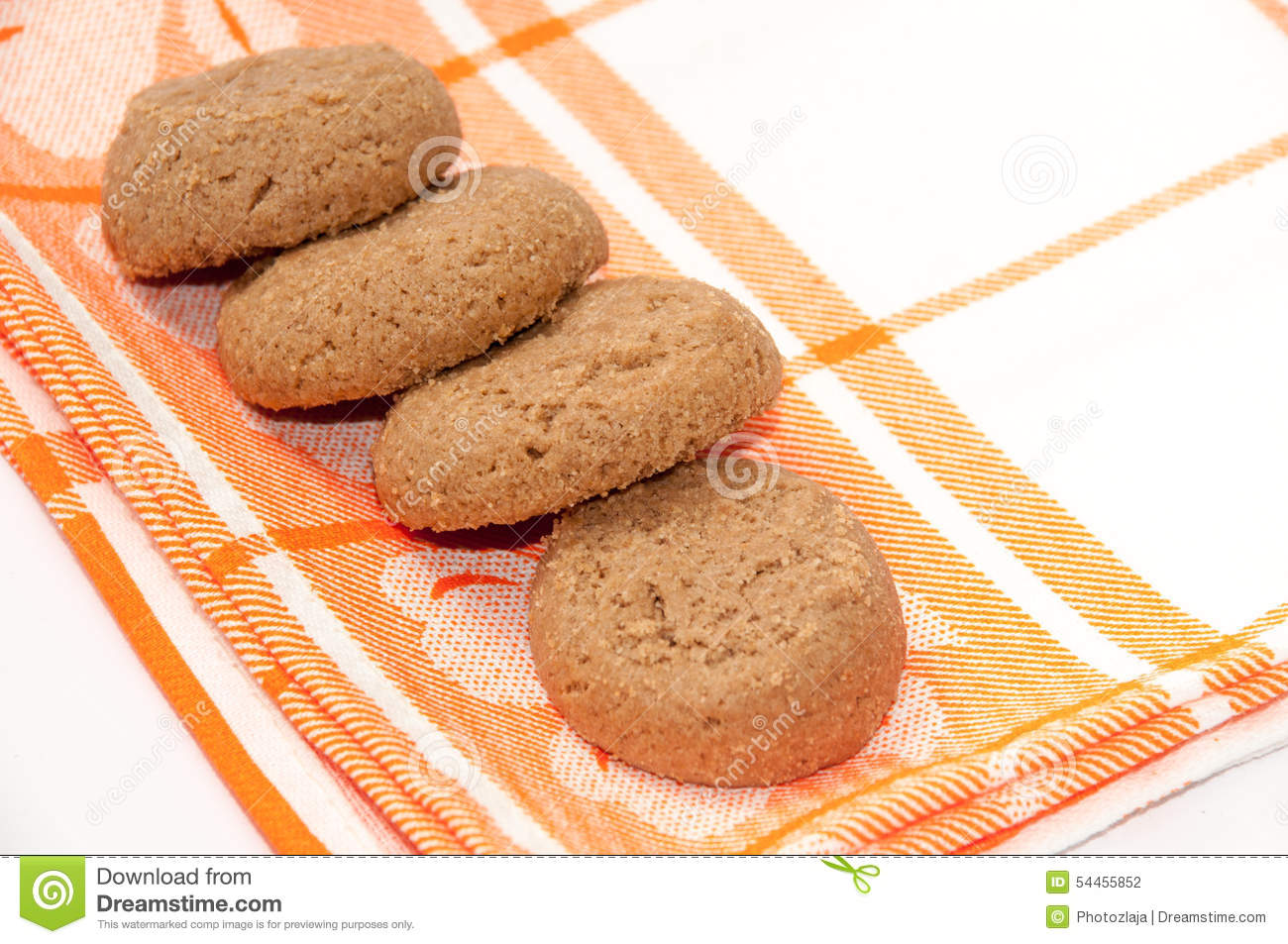 Round Kitchen Table Cloth Round Chocolate Cookies On The Kitchen Table Cloth Stock Photo