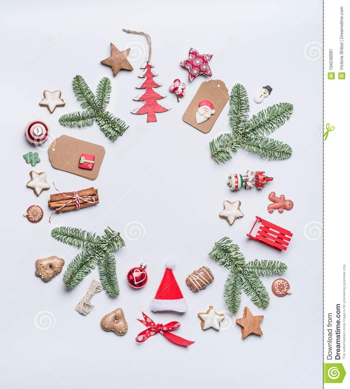 Round Christmas Frame Layout Composition With Green Fir Brunches ...