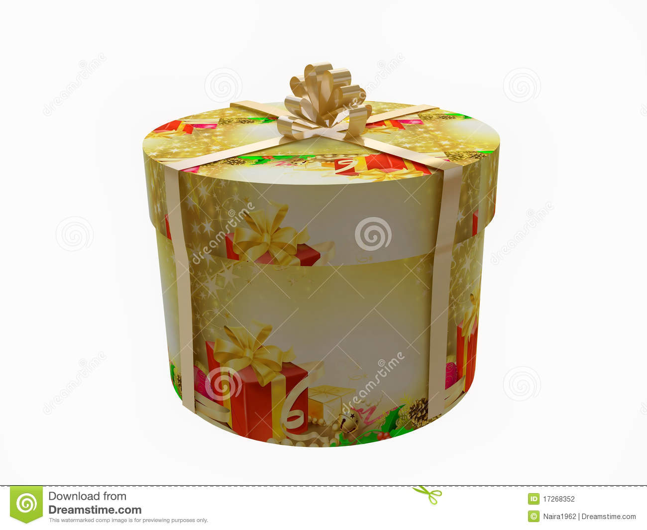 Round christmas gift box with golden ribbon stock