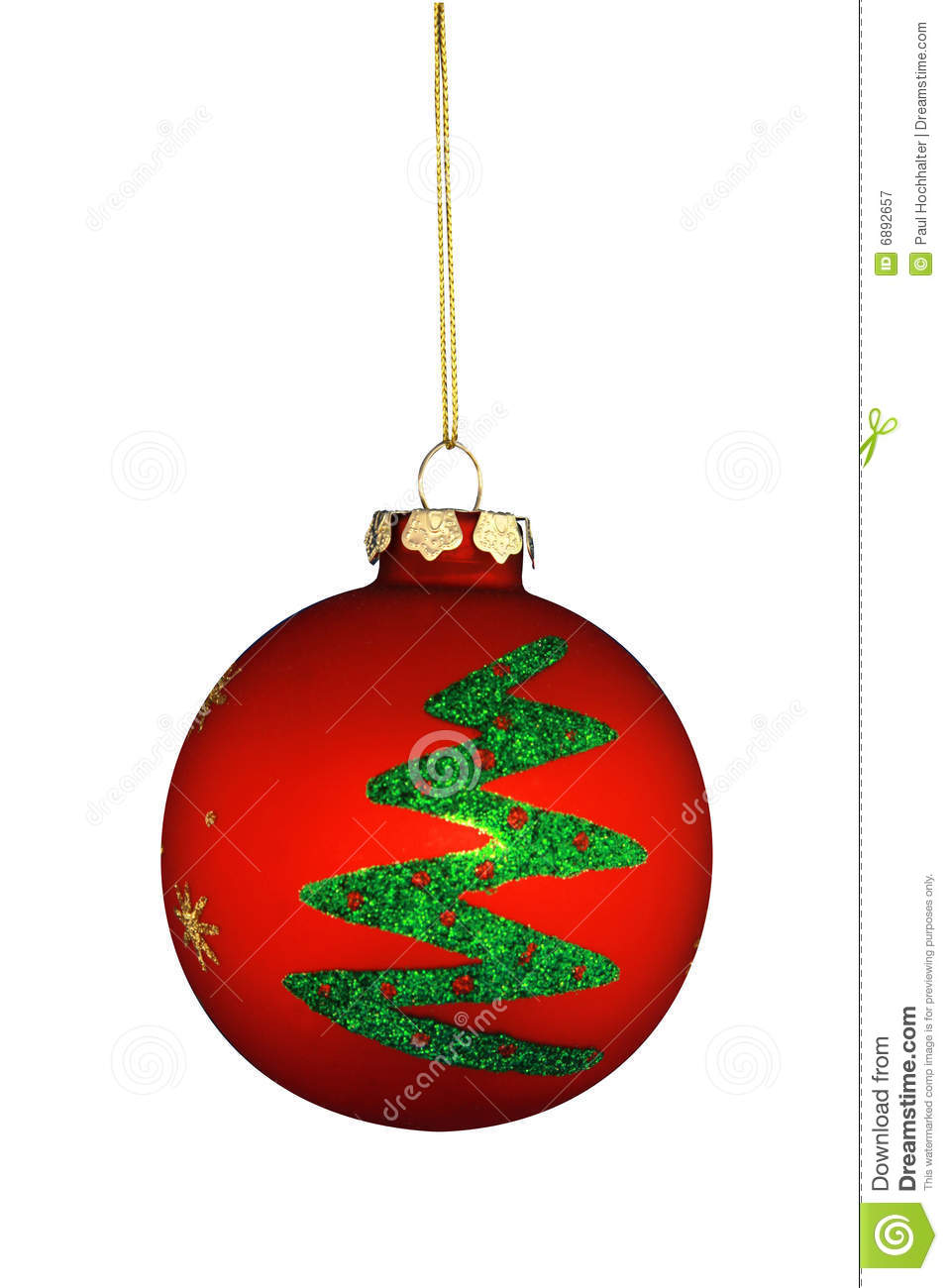Round christmas tree ornament stock image of