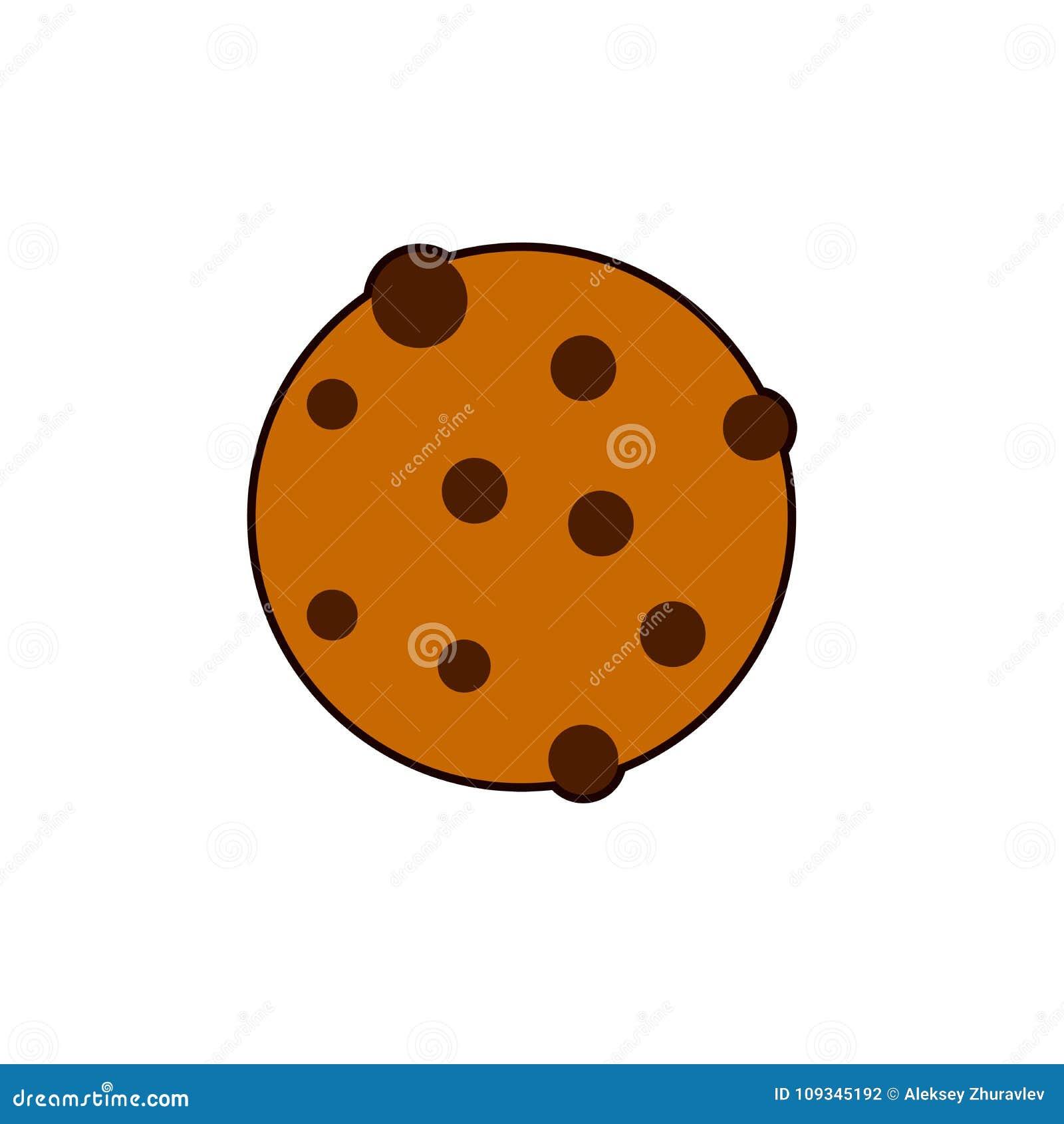 Round ciastko ikona Płaska ilustracja gryźć wokoło ciastko wektoru dla sieci odizolowywającej na białym tle