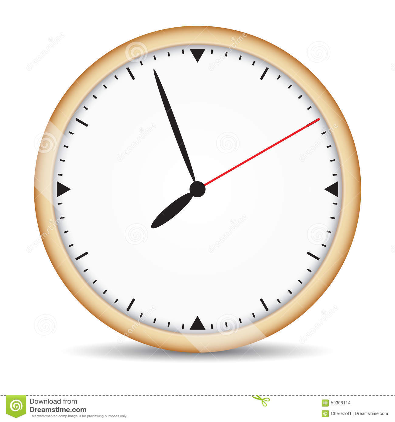 Round clock with brown frame and red second hand stock vector round clock with brown frame and red second hand amipublicfo Image collections