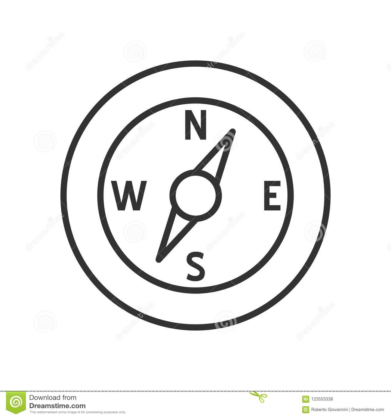 Compass Outline Flat Icon on White