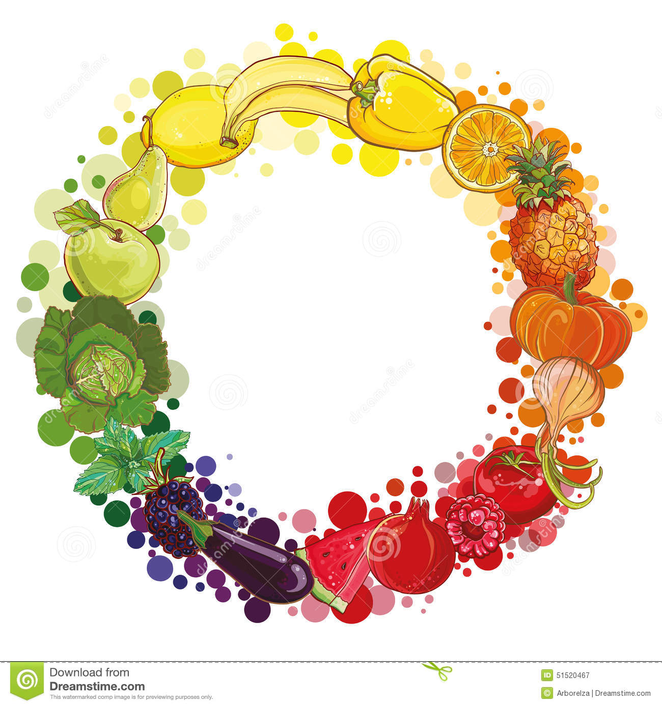 Round Composition With Fruits And Vegetables Food Circle
