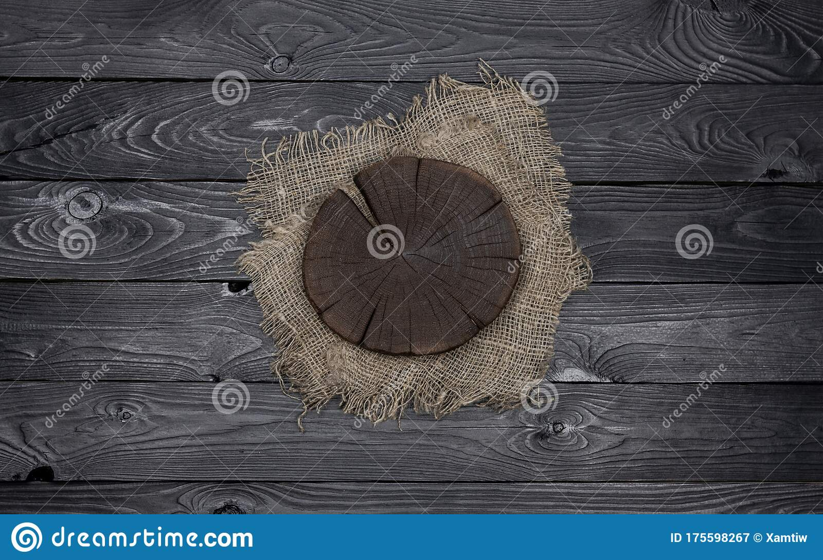 Round Cutting Board On Black Wooden Table Stock Image Image Of Fabric Canvas 175598267