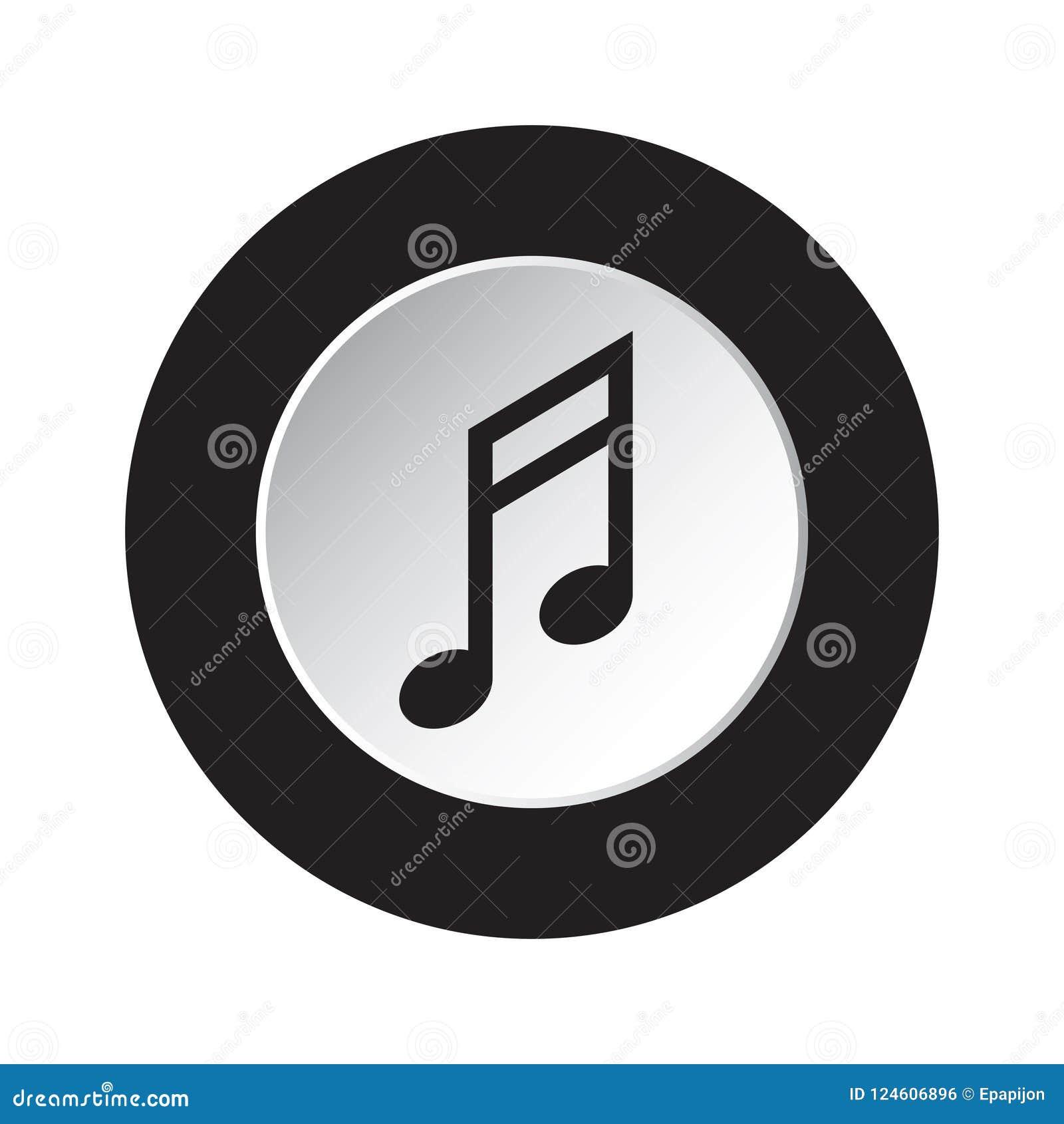 Round czarna, biała guzik ikona, - muzykalna notatka
