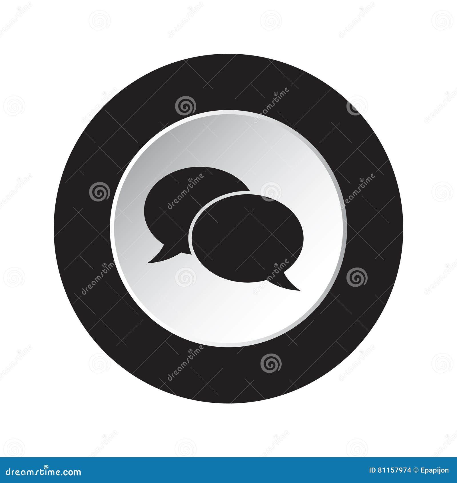 Round czarny i biały guzik - mowa gulgocze ikonę