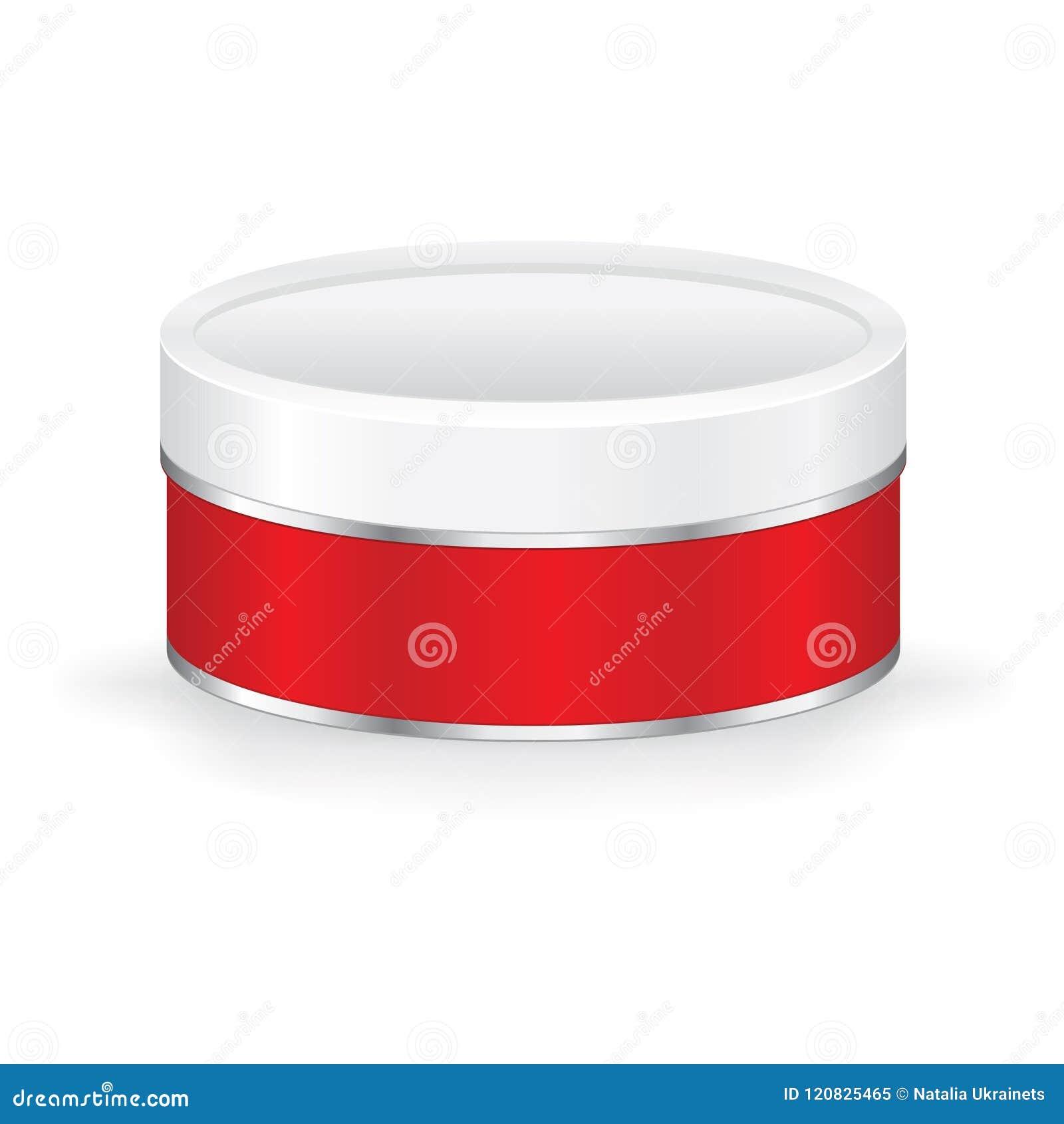 Round czerwony ciastko cyny pudełko