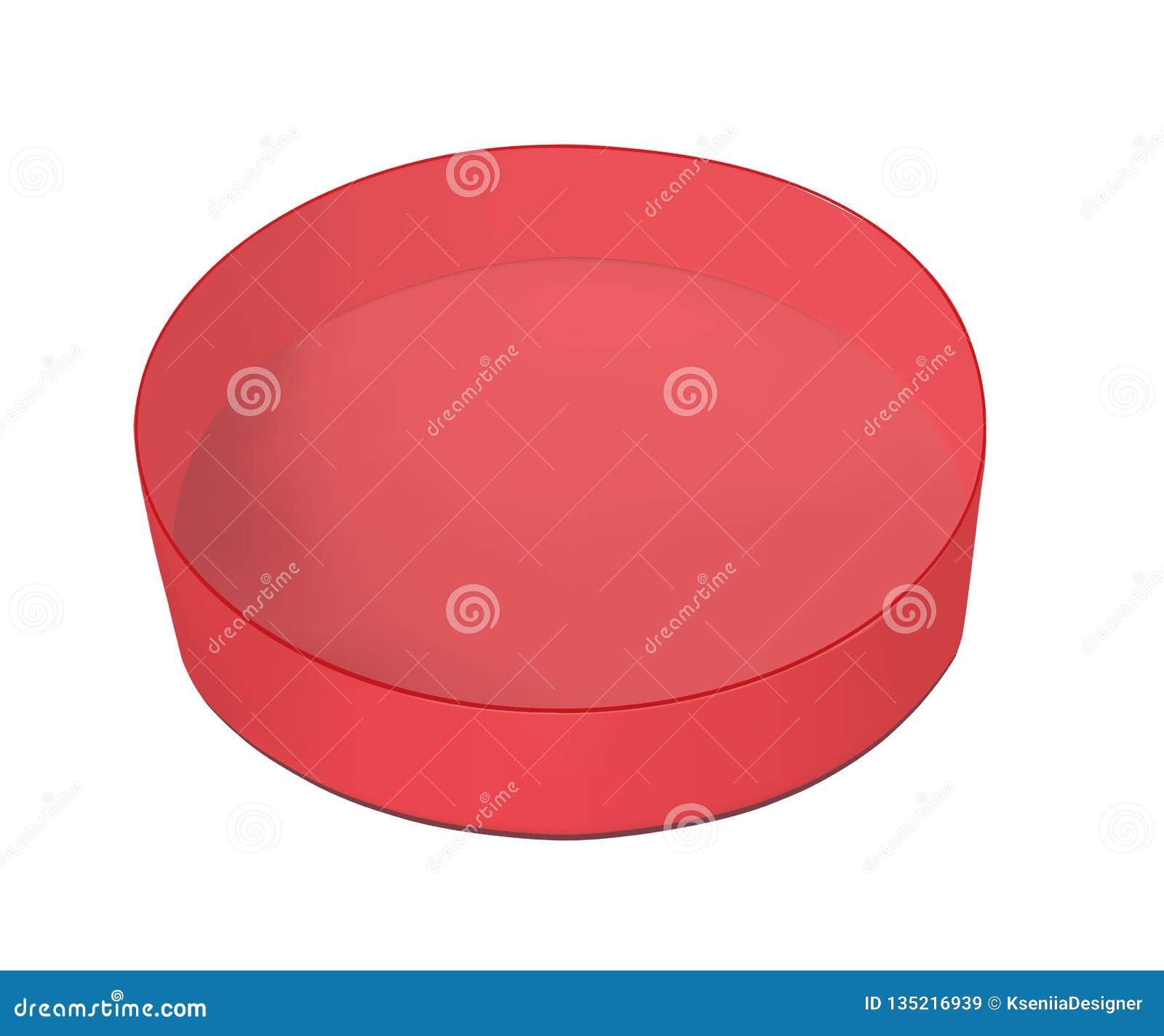 Round czerwony karton dla jedzenia, ciastek i prezentów,