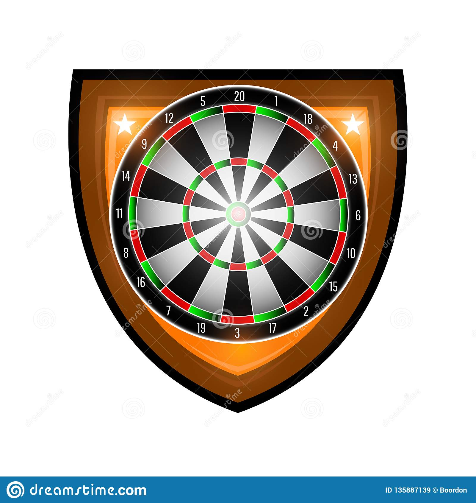 Round dartboard in center of shield isolated on white. Sport logo for any darts game or championship