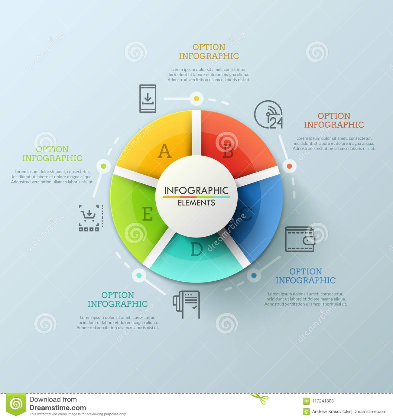 round diagram divided into 5 multicolored pieces marked with letters   interface elements of web or mobile application for online shop