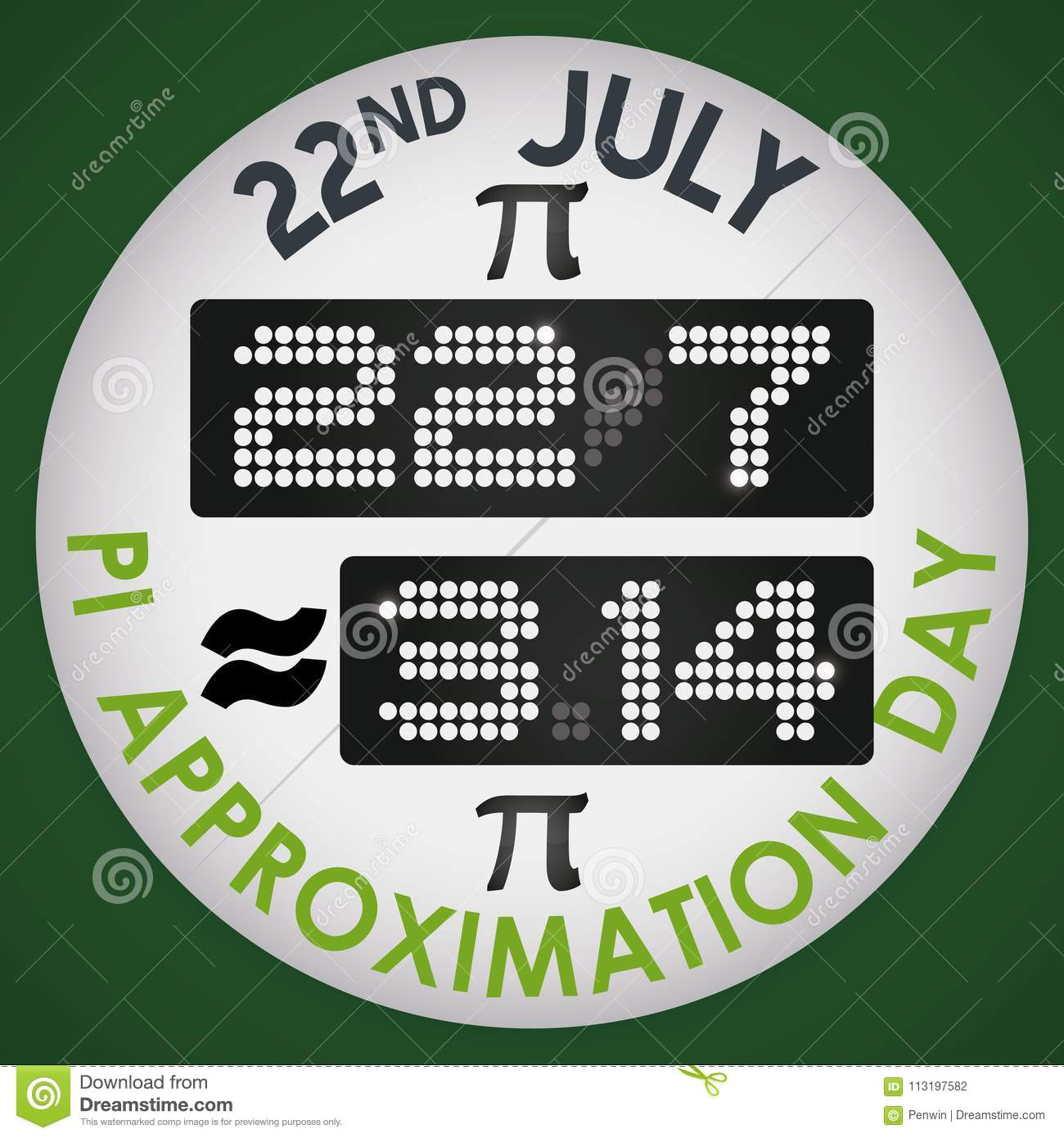 Pin With Digital Display For Pi Approximation Day Vector