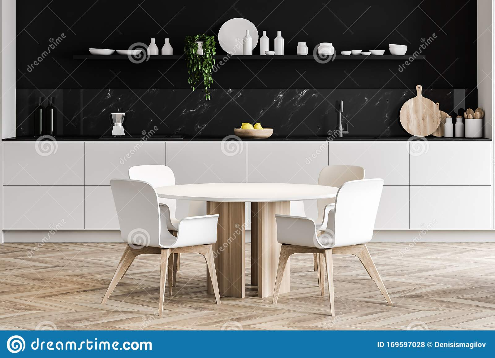 Round Dining Table In Black Marble Kitchen Stock Illustration Illustration Of Furniture House 169597028