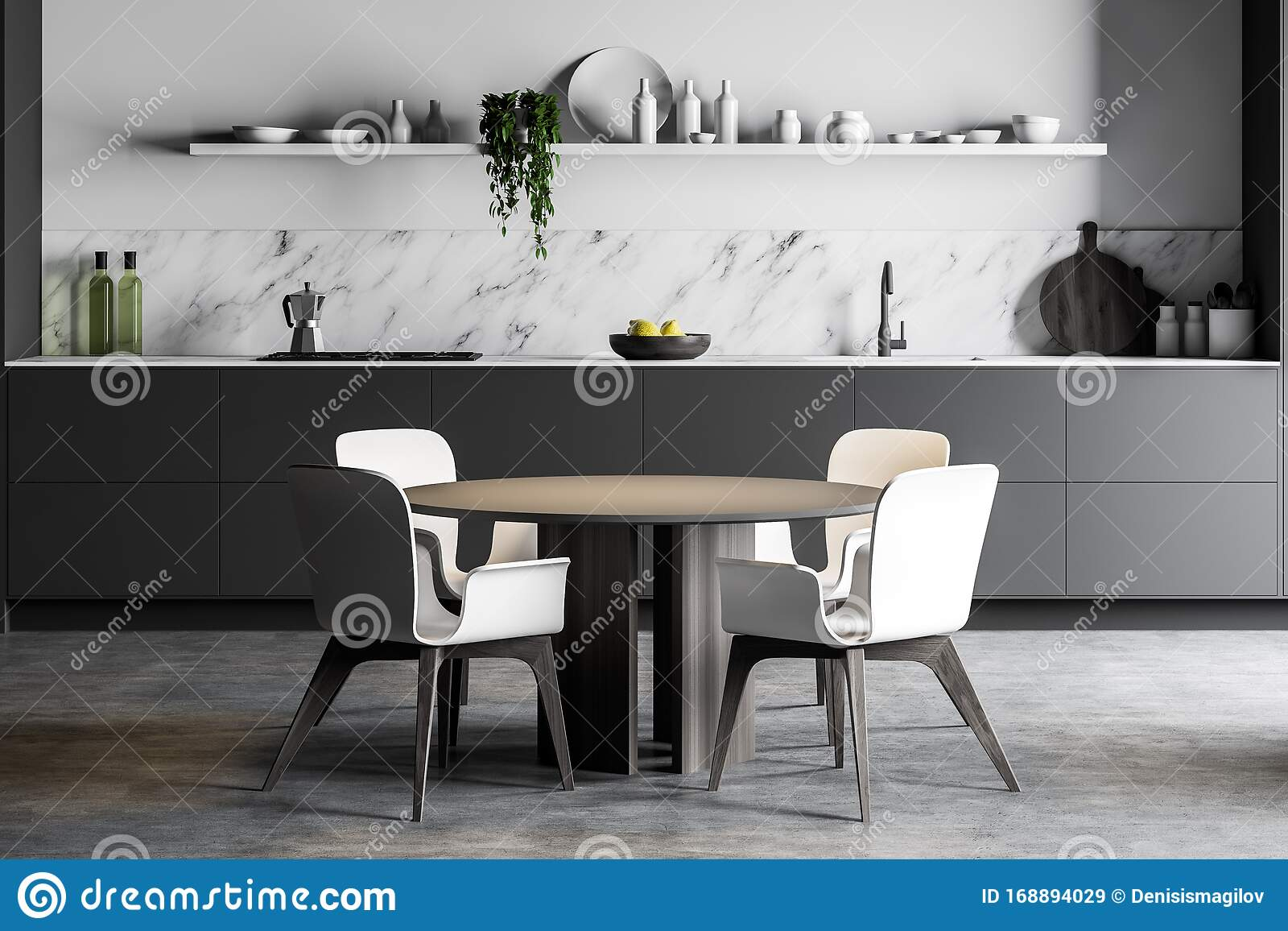 Picture of: Round Dining Table In White Marble Kitchen Stock Illustration Illustration Of Kitchen House 168894029