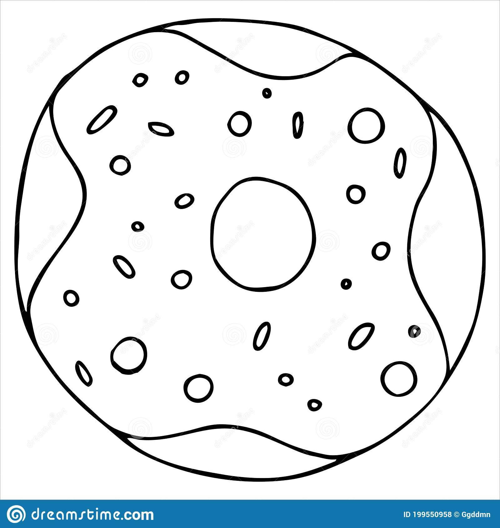 Round Donut In Glaze With Sprinkles, Cute Drawing For Kids ...