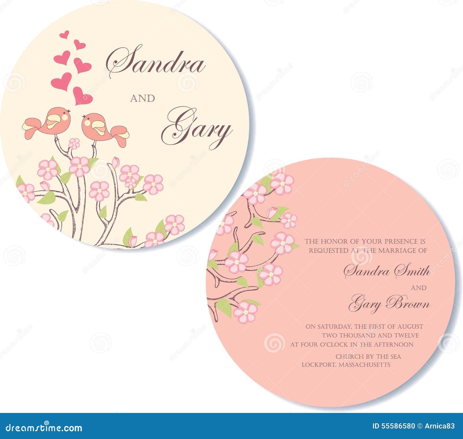 Round Double Sided Wedding Invitation Stock Vector Illustration