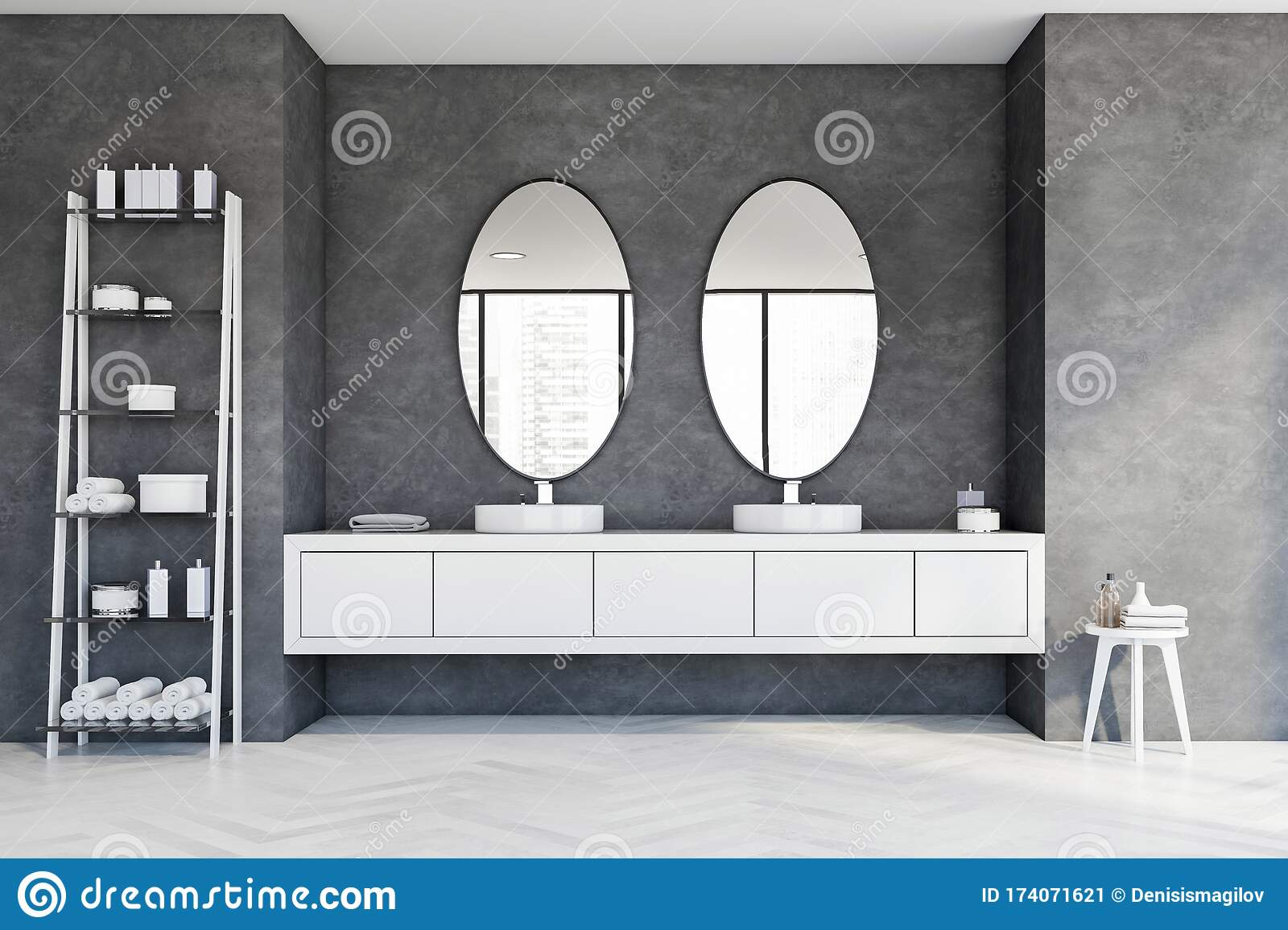Round Double Sink In Grey Bathroom Oval Mirrors Stock Illustration Illustration Of Contemporary Home 174071621