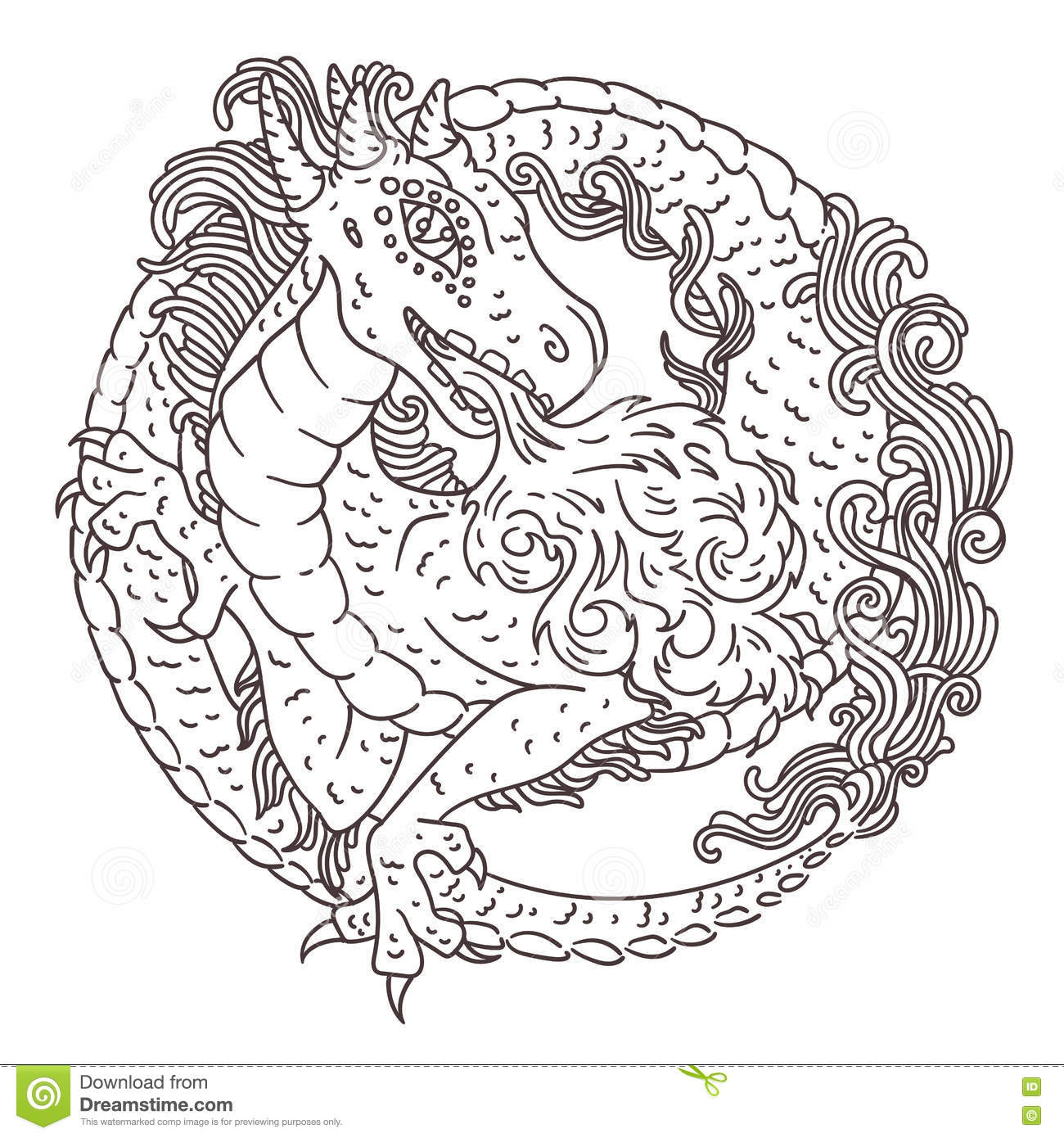 round dragon coloring page stock vector image 72244605