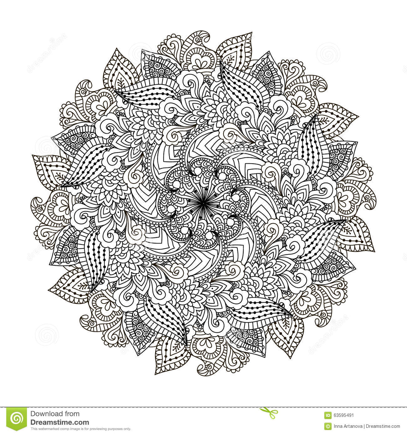 Round Element For Coloring Book Stock Vector Illustration Of