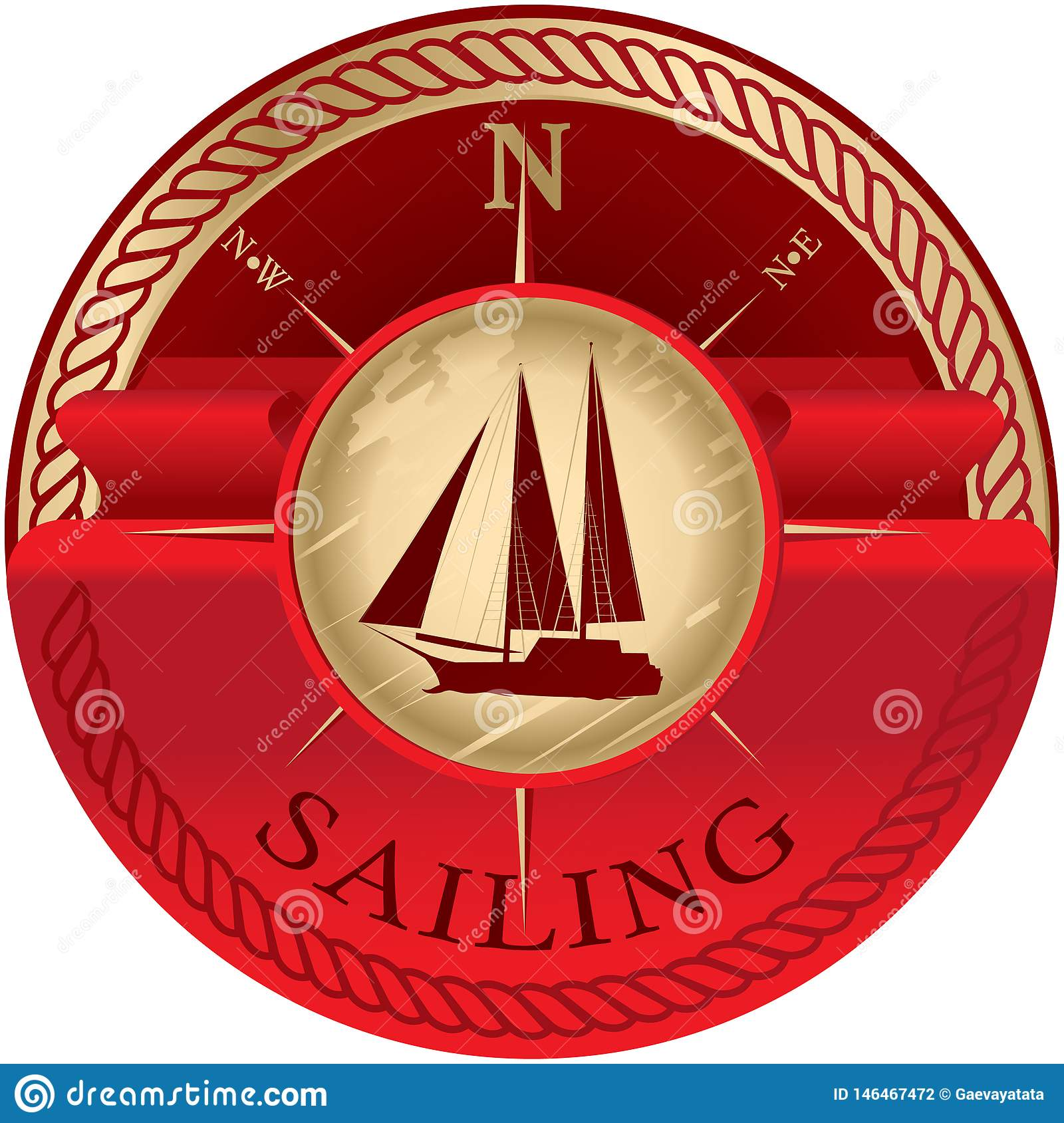 Round emblem with red ribbon for text and sailboat