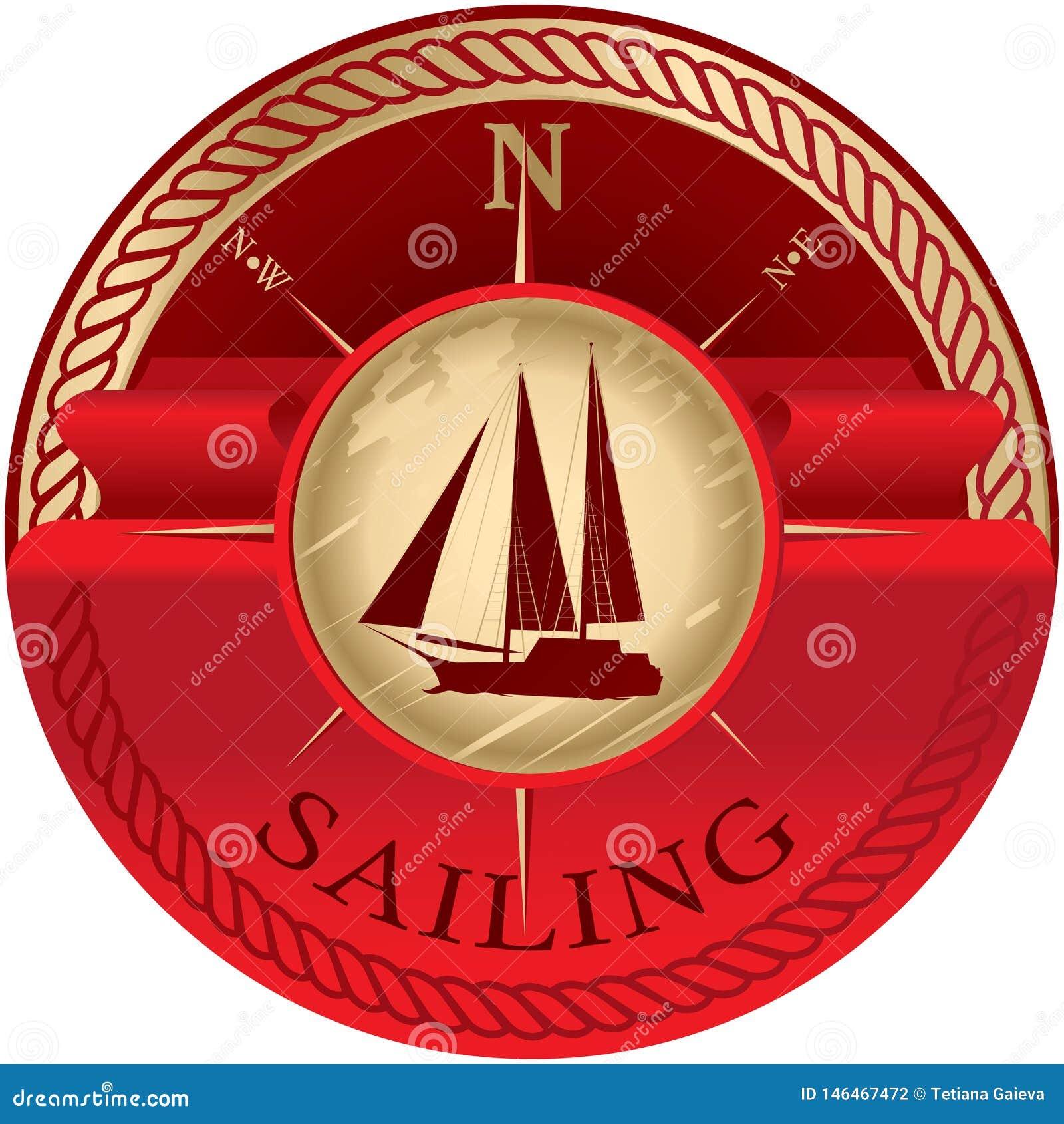 Round emblemat z czerwonym faborkiem dla teksta i żaglówki
