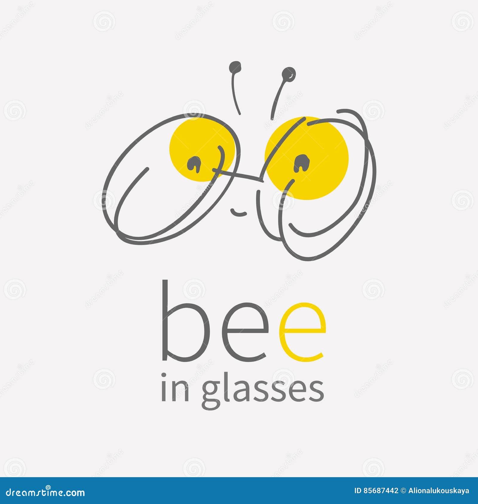 Round eye glasses Logo.Linear hand draw cartoon smiling cute little bee.Kawai bug icon.Flat sign.Business internet
