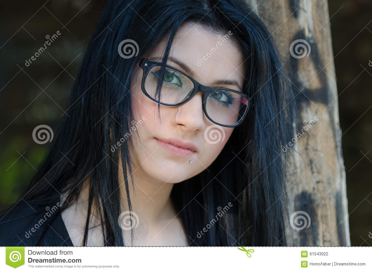 Round Face Lady With Glasses And Black Clothes Stock Photo Image
