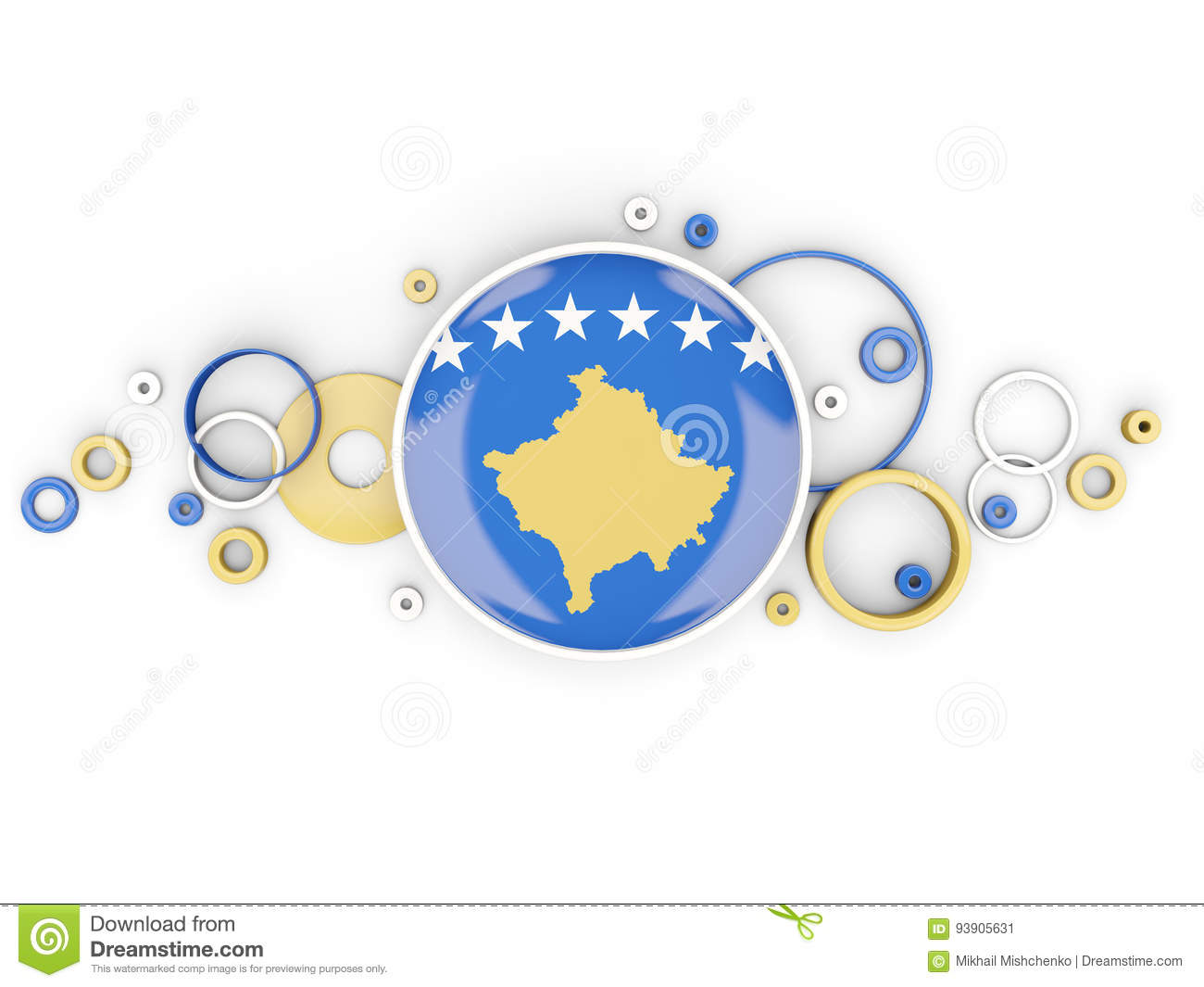 Round flag of kosovo with circles pattern