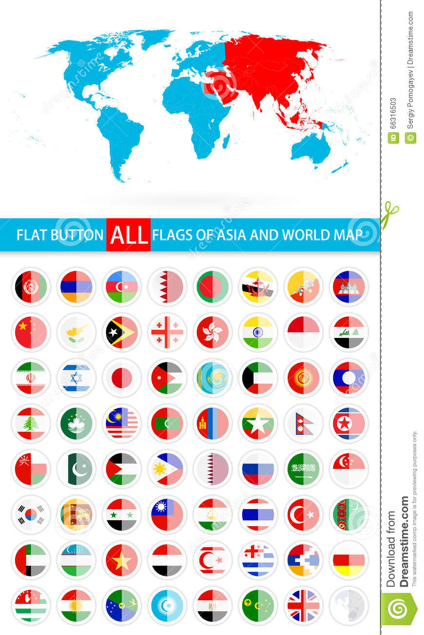Complete Map Of Asia.Round Flat Button Flags Of Asia Complete Set And World Map Stock