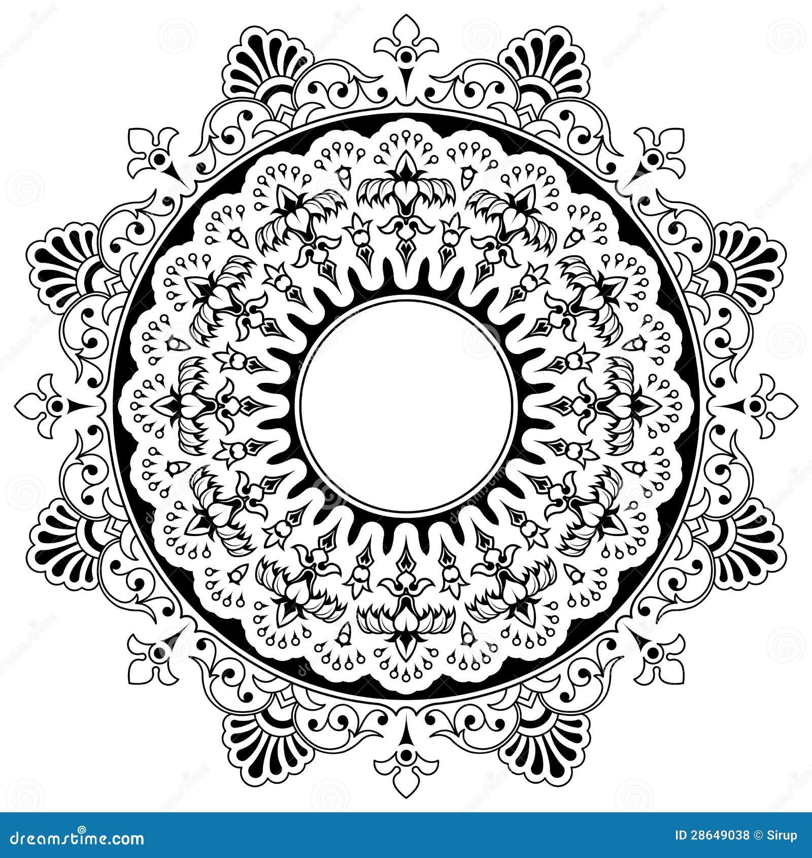 round floral calligraphic mandala border royalty free. Black Bedroom Furniture Sets. Home Design Ideas
