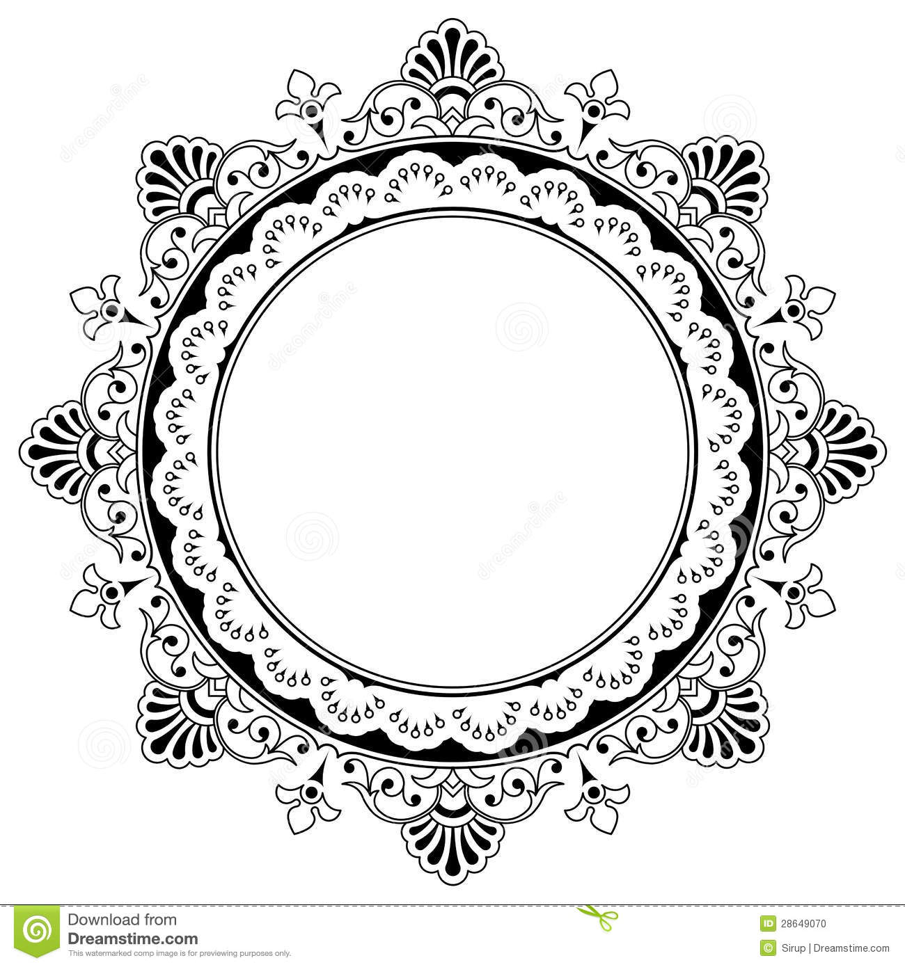 Attractive Round Floral Calligraphic Border