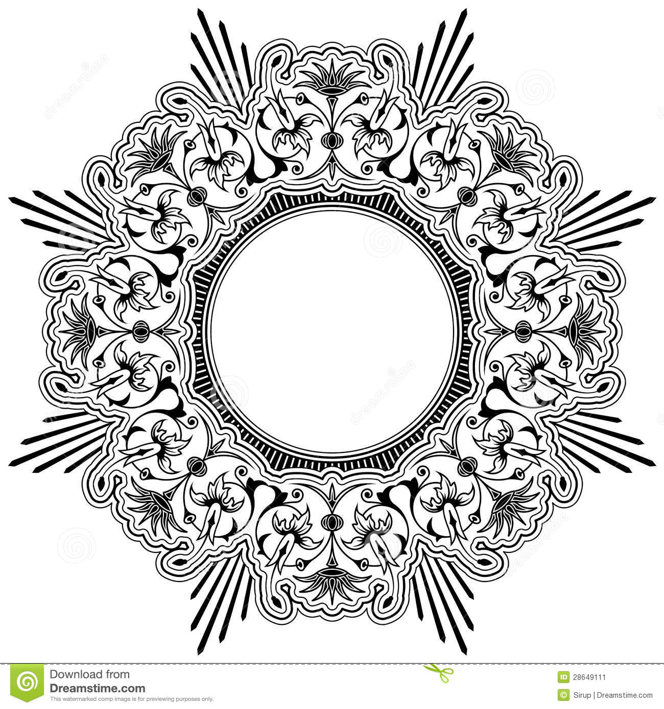 Round floral calligraphic border stock image