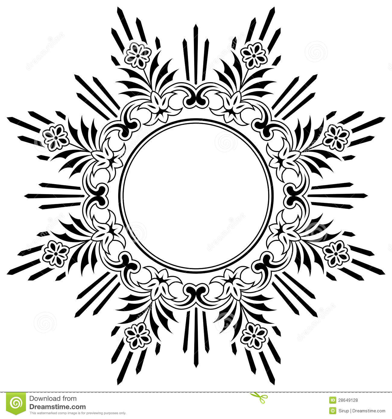 Round Floral Calligraphic Border Stock Vector
