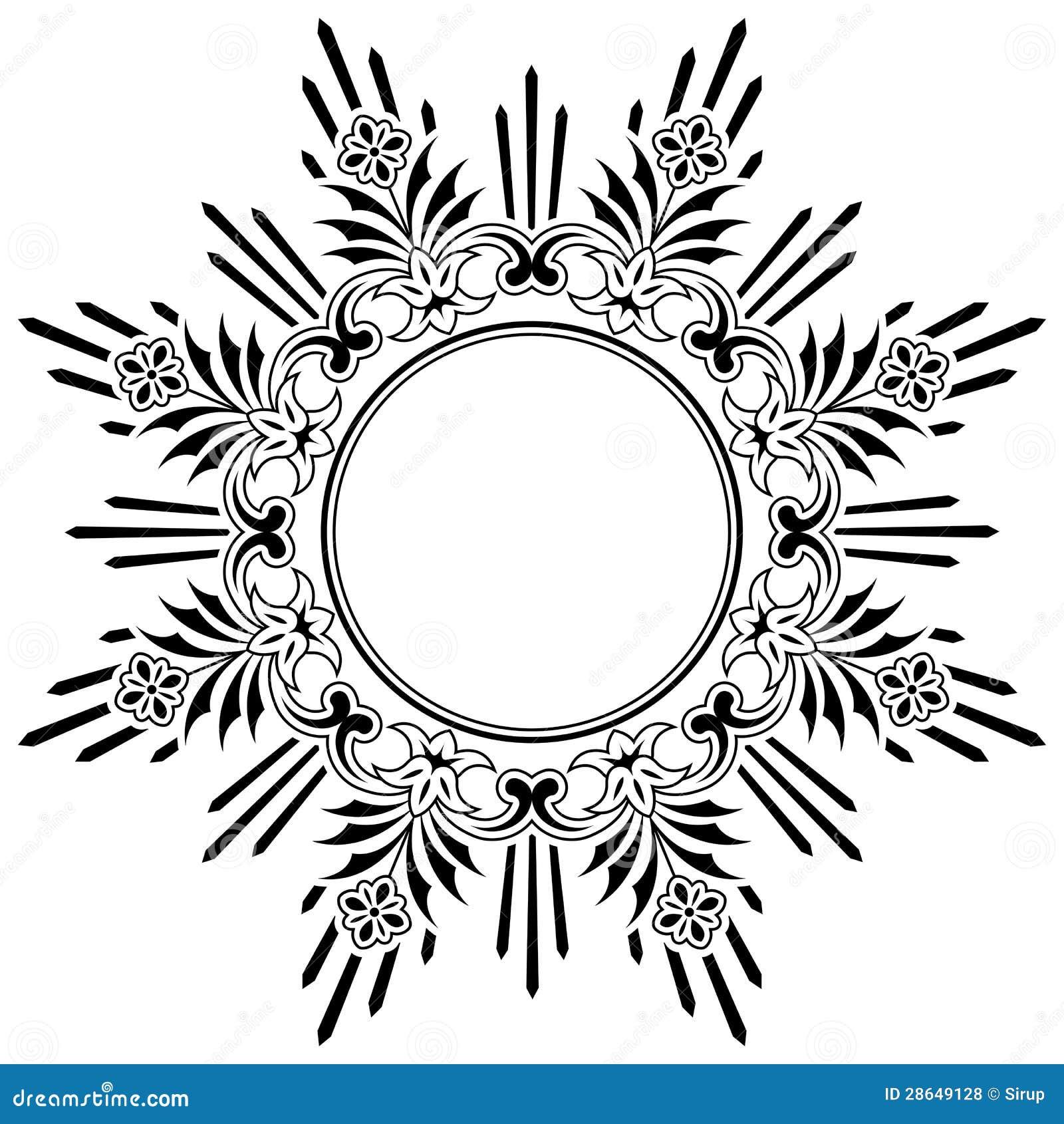Round floral calligraphic border royalty free stock photos